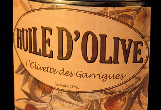 France, Vaucluse (84), Lubéron, Roussillon village, label of an olive oil bottle : Stock Photo