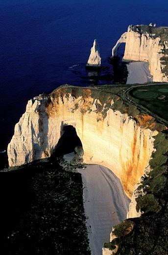 France, Seine Maritime, Pays de Caux, Cote d´Albatre, Etretat, Aval Cliff on the Cote d´ Albatre aerial view : Stock Photo