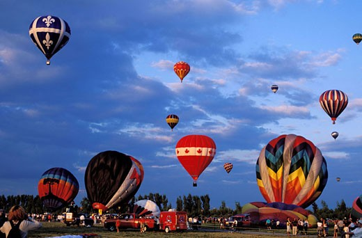 Canada, Quebec, Monteregie, hot-air balloons festival of Saint-Jean-sur-Richelieu : Stock Photo