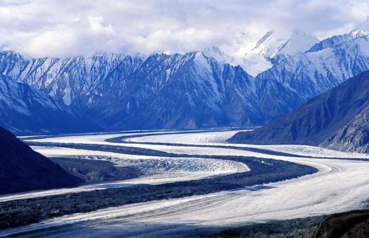 Canada, Yukon, Kaskawulsh glacier in Kluane National Park : Stock Photo