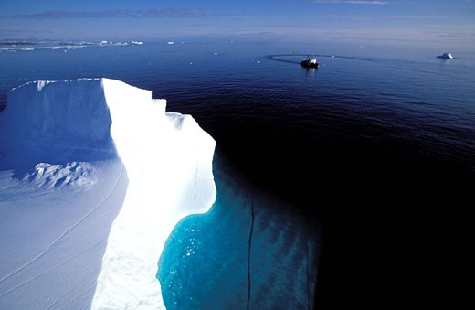 Stock Photo: 1792-45668 Canada, Nunavut, progression of the Canadian coastguards´ icebreaker between icebergs of Lancaster Sound off Devon island