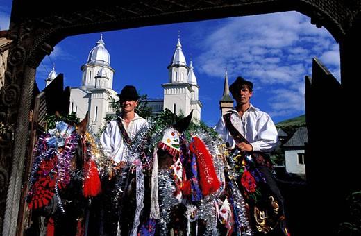 Stock Photo: 1792-45890 Romania, Maramures region, Carpathians mountains, celebration in Botiza village, traditional costumes