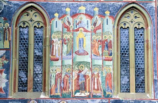 Romania, Bukovina region, painted monastery of Sucevita : Stock Photo