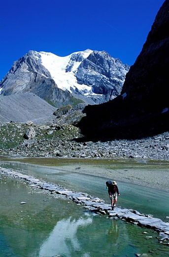 France, Savoie, Vanoise National Park, lac des Vaches and the Grande Casse 3855m : Stock Photo