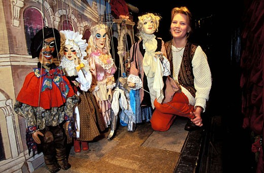 Czech Republic, Prague, behind the scenes of the famous puppet theater, staging Don Giovanni : Stock Photo
