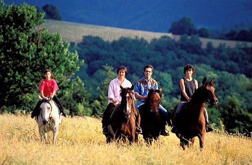 France, Tarn, equestrian tourism : Stock Photo