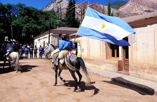 Stock Photo: 1792-46898 Argentina, Buenos Aires province, Pumamarca festival, Gauchos parade