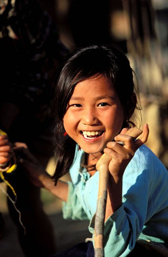 Laos, Luang Prabang Province, young girl : Stock Photo