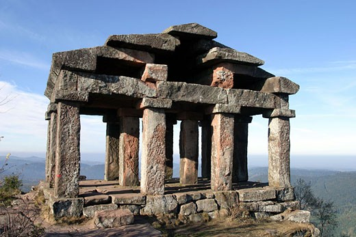 France, Vosges (88), the small Roman temple at the top of Col du Donon (2,355 ft) : Stock Photo