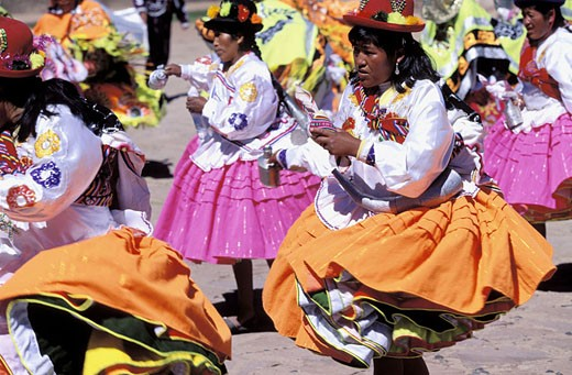 Peru, Puno Department, Taquile Island on Lake Titicaca, Eater celebrations, traditional dances : Stock Photo