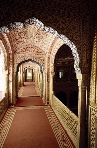 India, Rajasthan, Jaipur area, Samode Palace, Darbar Hall : Stock Photo