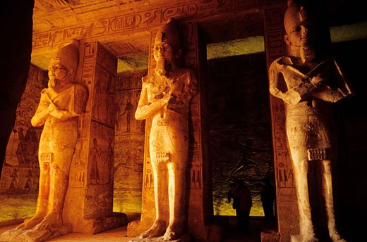 Egypt, Nile Valley, Abu Simbel, Great Temple of Ramses II, osiride pillars with the effigy of Ramses II supporting the Pronaos : Stock Photo