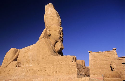 Egypt, Nubia, temple of Ouadi es Seboua, Sphinx with a human head and wearing a double crown : Stock Photo