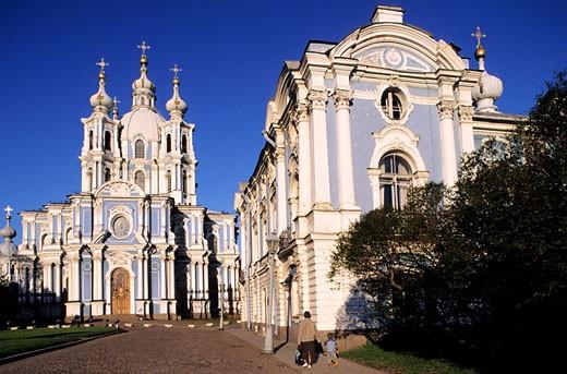 Russia, Saint Petersburg, Smolny monastery : Stock Photo