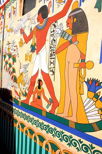 Egypt, Nile valley, surroundings of Luxor, West Thebes, Qurna, painted house : Stock Photo