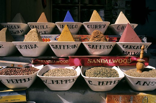 Stock Photo: 1792-50074 Egypt, Nile Valley, spices stall in Aswan souk