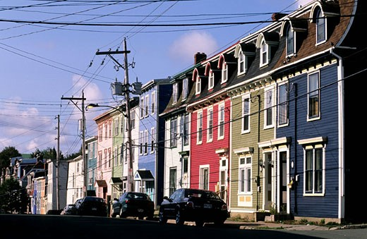Canada, Newfoundland, St. John?s provincial capital on Avalon peninsula with its colourful streets on the hillside : Stock Photo