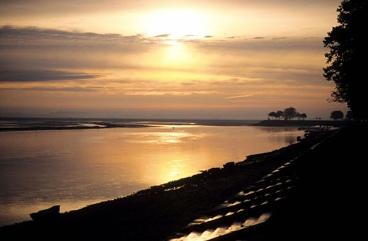 Stock Photo: 1792-51242 France, Somme (80), Saint-Valéry-sur-Somme, seaside landscape at sunset