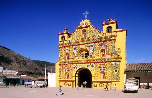 Guatemala, Quezaltenango Department, San Andres Xecul Church : Stock Photo