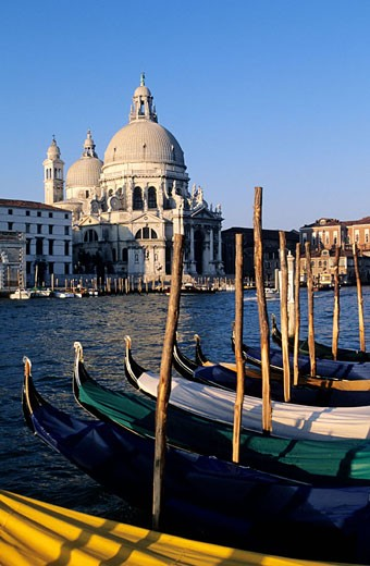 Italy, Venetia, Venice, gondolas moored by Santa Maria della Salute church : Stock Photo
