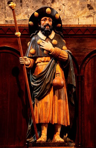 Stock Photo: 1792-51993 France, Vienne, Chatellerault, Saint Jacques church, a 17th century polychrome wooden statue of Saint James as a pilgrim