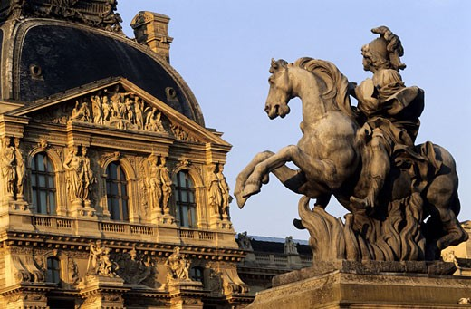France, Paris (75), Louvre, equestrian statue on the square : Stock Photo