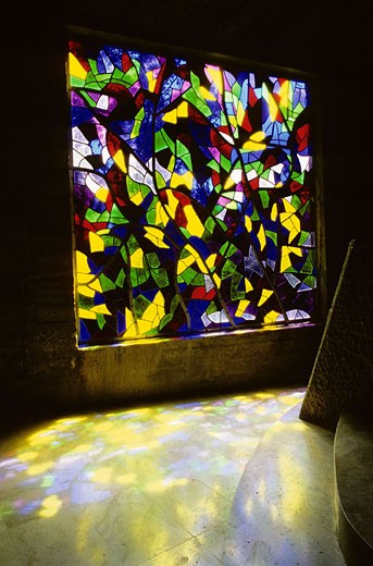 France, Meuse (55), stained glass of Saint-Rouin chapel in Argonne forest : Stock Photo