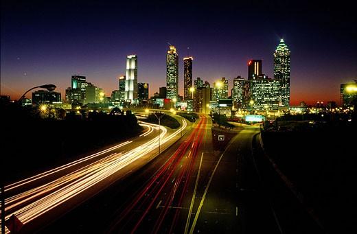 United States, Georgia, Atlanta, skyline at night : Stock Photo