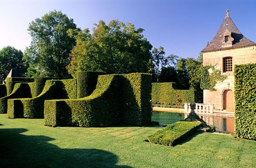 France, Dordogne (24), Eyrignac Manor, gardens : Stock Photo