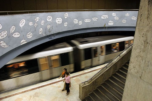 Romania, Bucharest, University subway station : Stock Photo