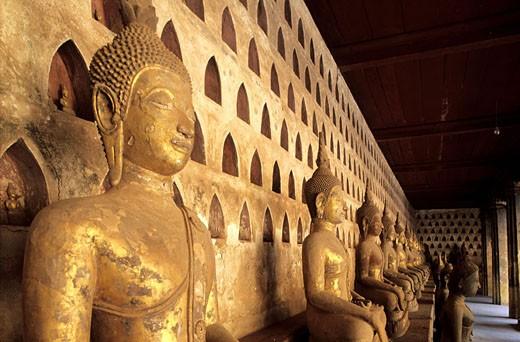 Laos, Vientiane, the Buddhas´ gallery of Si Saket temple : Stock Photo