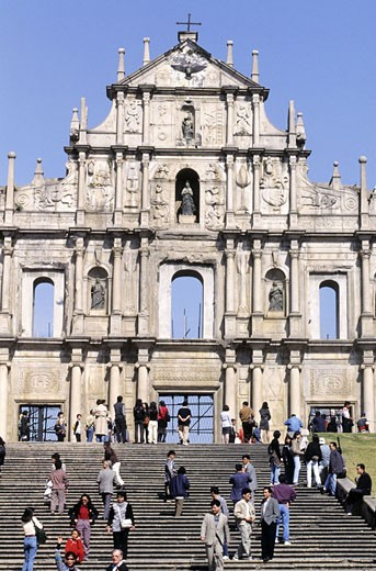 China, Macao, frontage of Sao Paulo church : Stock Photo