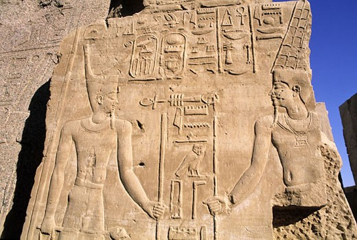 Egypt, Nile Valley, Luxor, low relief of Karnak temple : Stock Photo