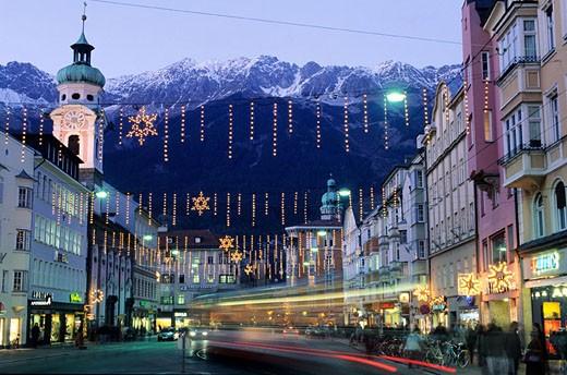 Austria, the Tyrol, Innsbruck city, Mary Theresa Street : Stock Photo