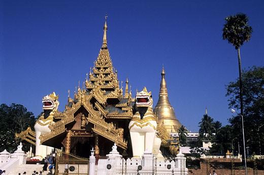 Burma (Myanmar), Rangoon (Yangon), the Shwedagon Pagoda : Stock Photo