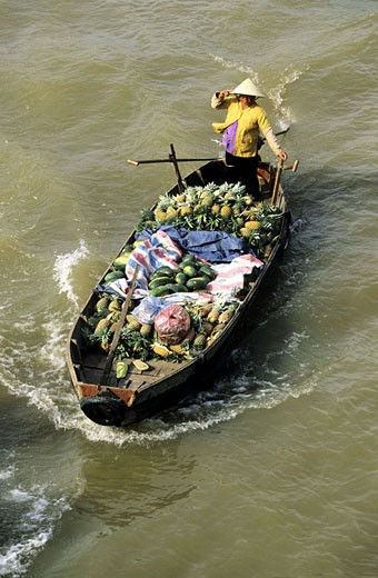 Stock Photo: 1792-55161 Vietnam, the Mekong Delta, the Cai Rang floating market (near Can Tho)