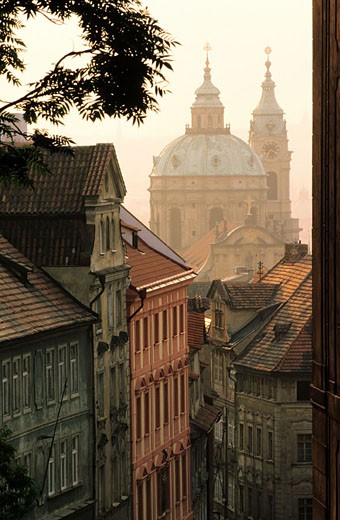 Czech Republic, Prague, the roofs of Mala Strana, St. Nicolas dome : Stock Photo