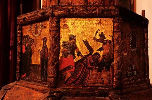 Greece, Cyclades Islands, Milos Island, Adamas, the 17th century Agia Triada church houses beautiful icons and paintings : Stock Photo