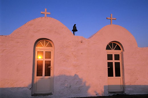 Greece, Cyclades Islands, Milos Island, one of the numerous chapels scattered in the island : Stock Photo