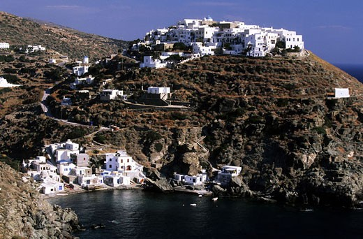Greece, Cyclades Islands, Sifnos Island, Kastro, medieval village perched above the Seralia bay : Stock Photo