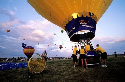 Stock Photo: 1792-55752 Canada, Quebec, Hot-air balloon festival in St. Jean de Richelieu