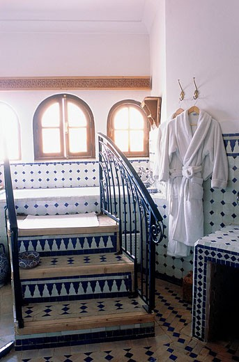 Stock Photo: 1792-55818 Morocco, Fes, La Maison Bleue Blue House Bed & Breakfast in a riad, bathroom