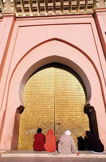 Morocco, Marrakesh, door of El Mansour mosque : Stock Photo