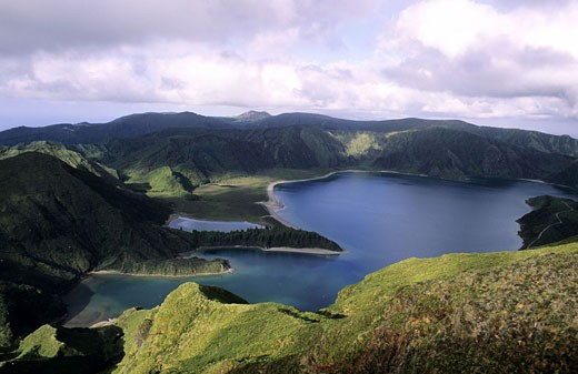 Portugal, the Azores, Sao Miguel Island, the volcanic Fogo Lake in the Sete Cidades Natural Park : Stock Photo