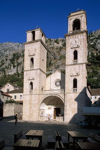 Republic of Montenegro, Kotor village, Church Sveti Tripun : Stock Photo