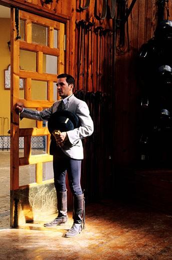 Spain, Andalusia, Jerez de la Frontera, horseman of the Royal Equestrian School : Stock Photo