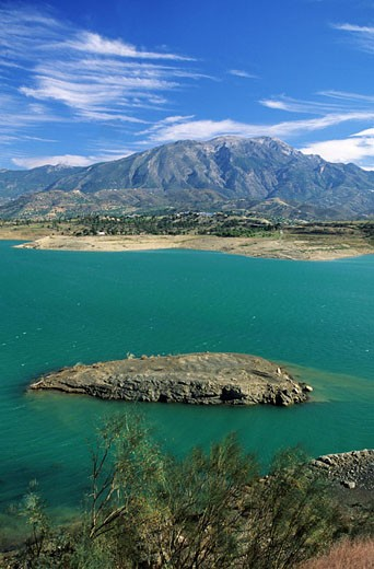 Spain, Andalusia, Vega mountain, Periana Lake : Stock Photo