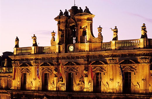 Spain, Castile-Leon Community, Salamanca, Plaza Mayor by night, square built on the 18th century : Stock Photo