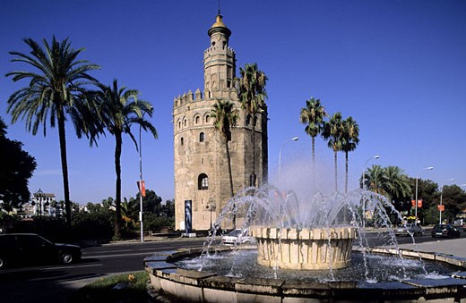 Spain, Andalusia, Sevilla, Plaza de Toros and Torre del Oro (Bulls´ Square and Tower of gold) : Stock Photo