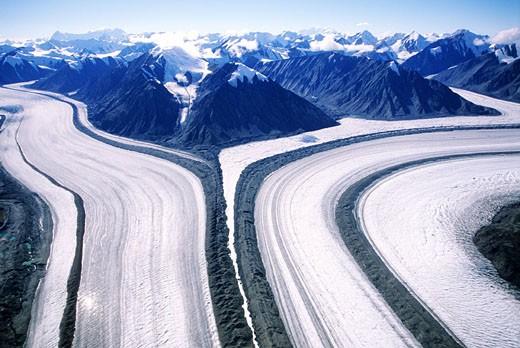 Stock Photo: 1792-56540 Canada, Yukon, Kluane National Park, aerial view of Kaskawulsh glacier